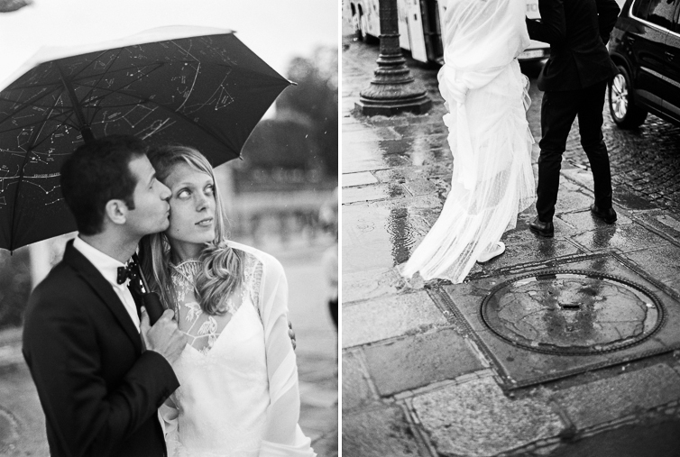 Kiss under the umbrella, wedding photo, rain